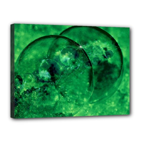 Green Bubbles Canvas 16  x 12  (Framed)
