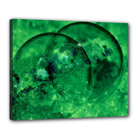 Green Bubbles Canvas 20  x 16  (Framed)