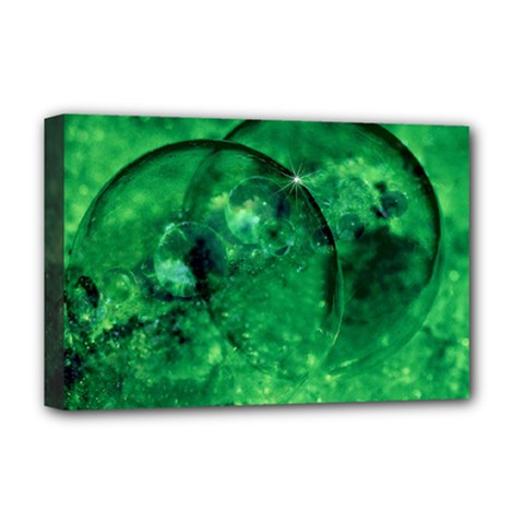 Green Bubbles Deluxe Canvas 18  x 12  (Framed)