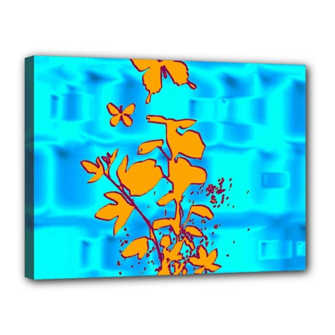 Butterfly Blue Canvas 16  x 12  (Framed)