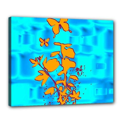 Butterfly Blue Canvas 20  x 16  (Framed)