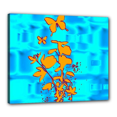 Butterfly Blue Canvas 24  x 20  (Framed)