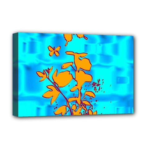 Butterfly Blue Deluxe Canvas 18  x 12  (Framed)