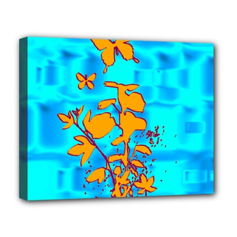 Butterfly Blue Deluxe Canvas 20  x 16  (Framed)