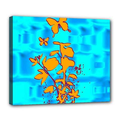 Butterfly Blue Deluxe Canvas 24  X 20  (framed)