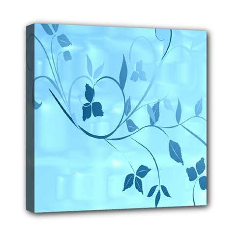 Floral Blue Mini Canvas 8  x 8  (Framed)