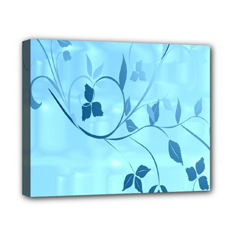 Floral Blue Canvas 10  x 8  (Framed)