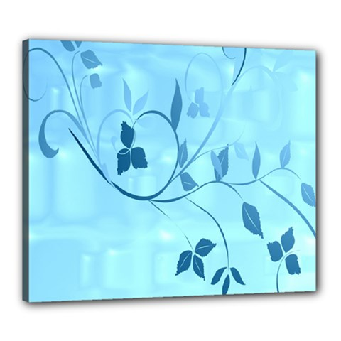 Floral Blue Canvas 24  x 20  (Framed)