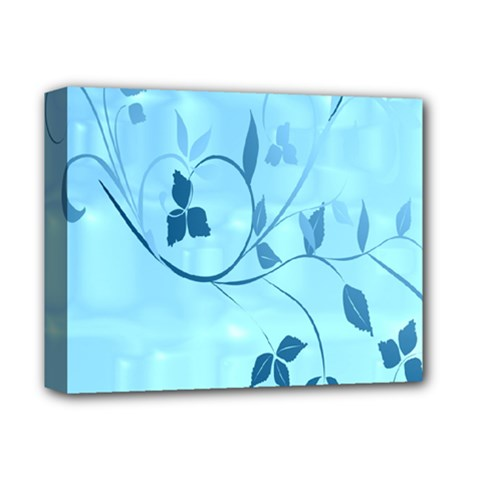 Floral Blue Deluxe Canvas 14  X 11  (framed)