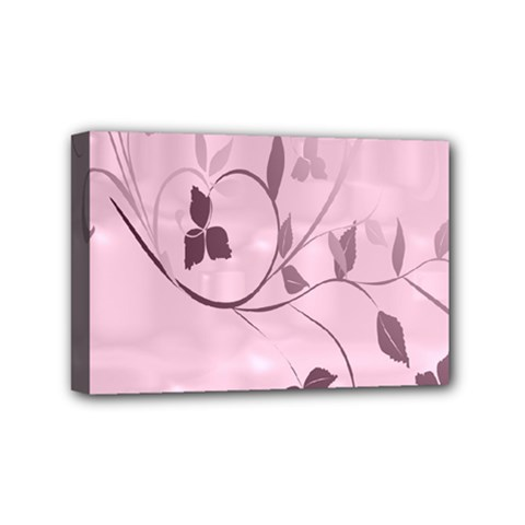 Floral Purple Mini Canvas 6  x 4  (Framed)