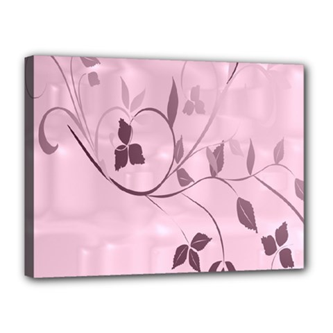 Floral Purple Canvas 16  x 12  (Framed)