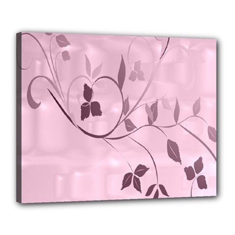 Floral Purple Canvas 20  x 16  (Framed)