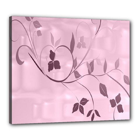 Floral Purple Canvas 24  x 20  (Framed)