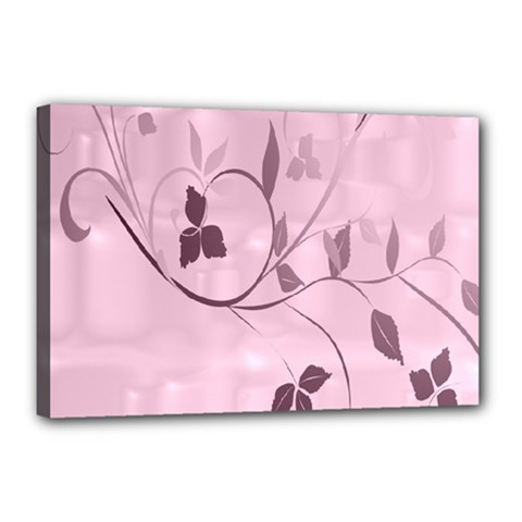 Floral Purple Canvas 18  x 12  (Framed)
