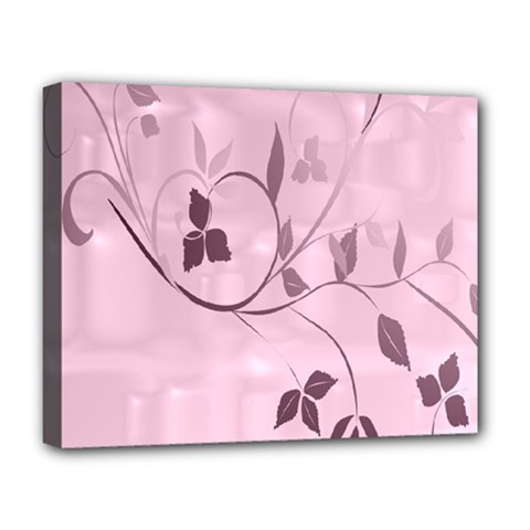 Floral Purple Deluxe Canvas 20  x 16  (Framed)