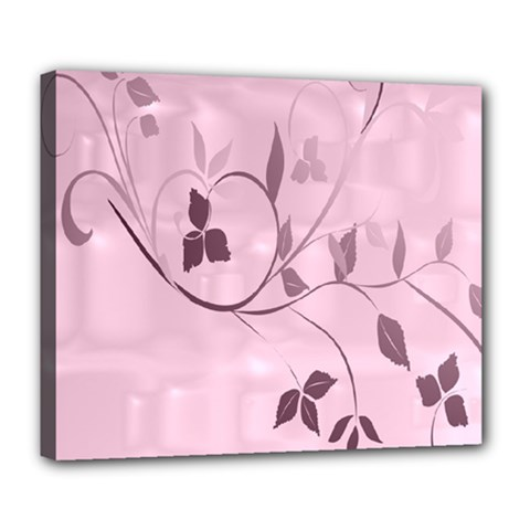 Floral Purple Deluxe Canvas 24  x 20  (Framed)
