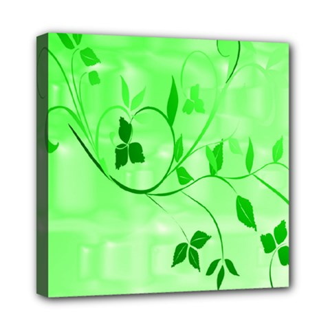 Floral Green Mini Canvas 8  x 8  (Framed)