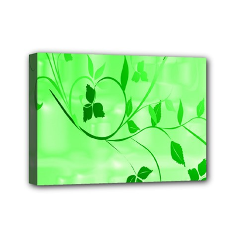 Floral Green Mini Canvas 7  X 5  (framed)