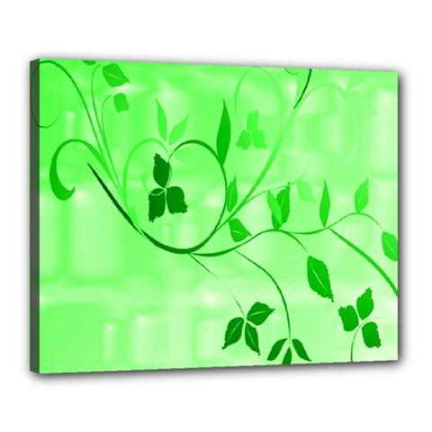 Floral Green Canvas 20  x 16  (Framed)