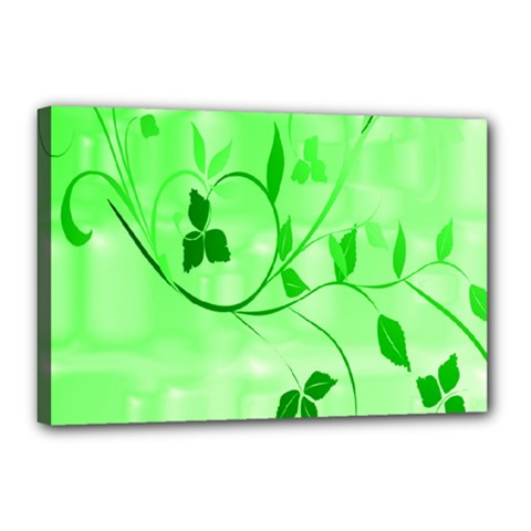 Floral Green Canvas 18  x 12  (Framed)