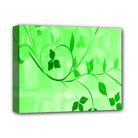 Floral Green Deluxe Canvas 14  x 11  (Framed)