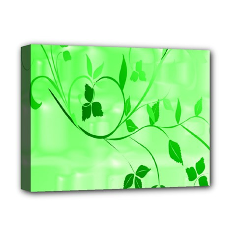 Floral Green Deluxe Canvas 16  x 12  (Framed)