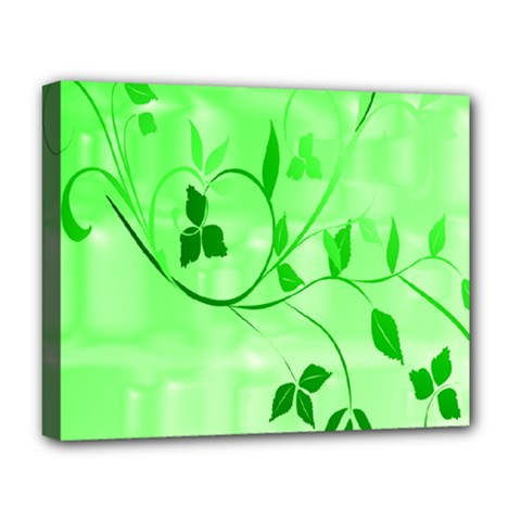 Floral Green Deluxe Canvas 20  x 16  (Framed)