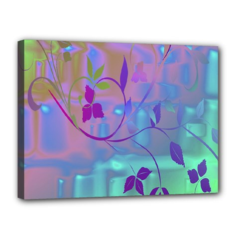 Floral Multicolor Canvas 16  x 12  (Framed)