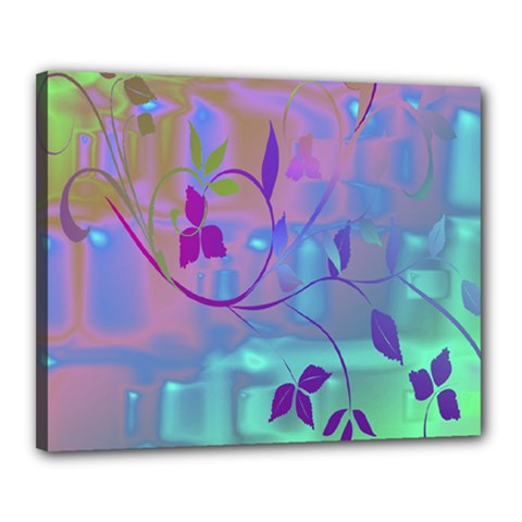 Floral Multicolor Canvas 20  x 16  (Framed)