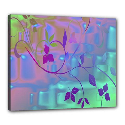 Floral Multicolor Canvas 24  x 20  (Framed)