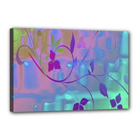 Floral Multicolor Canvas 18  x 12  (Framed)