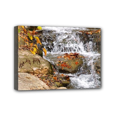 Waterfall Mini Canvas 7  x 5  (Framed)