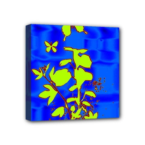 Butterfly Blue/green Mini Canvas 4  X 4  (framed)