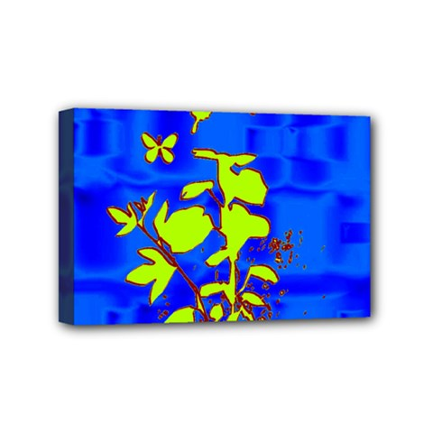 Butterfly Blue/green Mini Canvas 6  X 4  (framed)