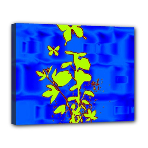 Butterfly Blue/green Canvas 14  X 11  (framed)
