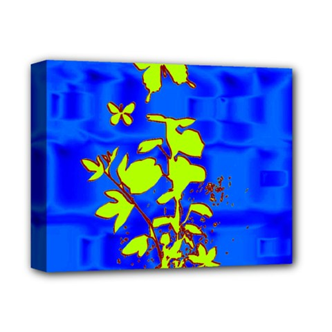 Butterfly Blue/green Deluxe Canvas 14  X 11  (framed)