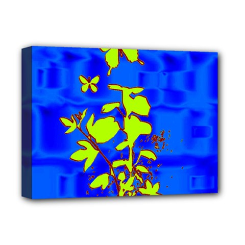 Butterfly blue/green Deluxe Canvas 16  x 12  (Framed)