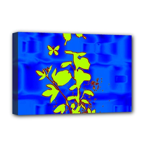 Butterfly Blue/green Deluxe Canvas 18  X 12  (framed)