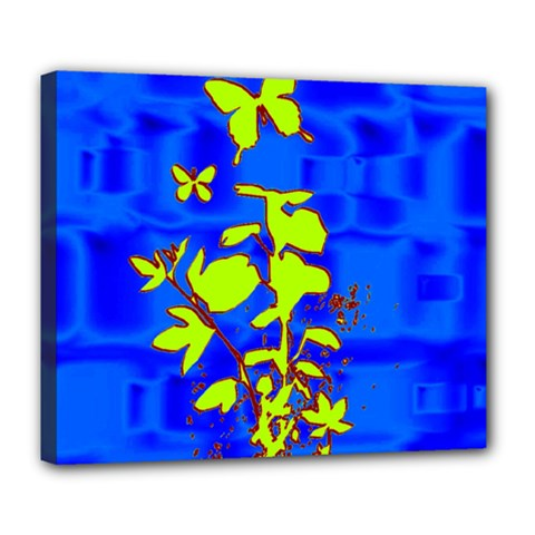 Butterfly blue/green Deluxe Canvas 24  x 20  (Framed)