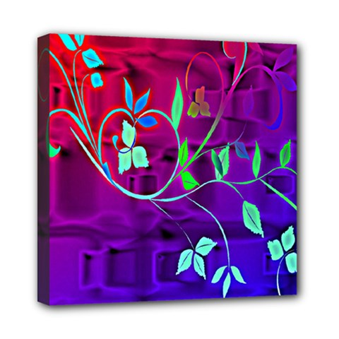 Floral Colorful Mini Canvas 8  X 8  (framed)