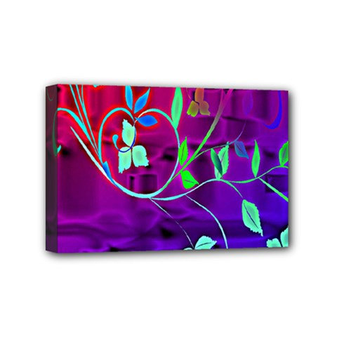 Floral Colorful Mini Canvas 6  X 4  (framed)