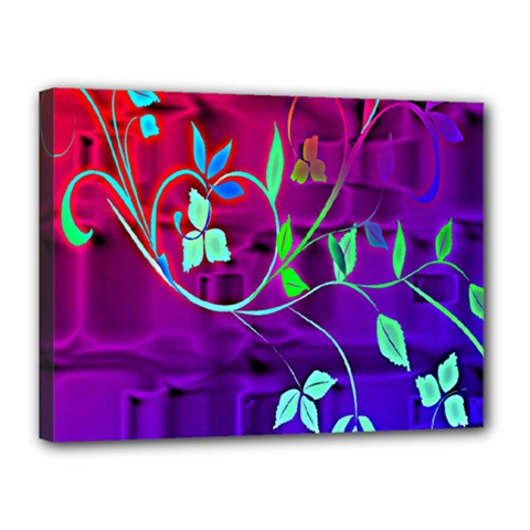 Floral Colorful Canvas 16  x 12  (Framed)
