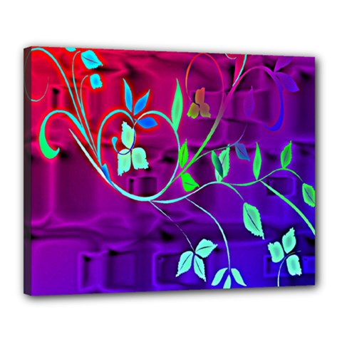 Floral Colorful Canvas 20  x 16  (Framed)