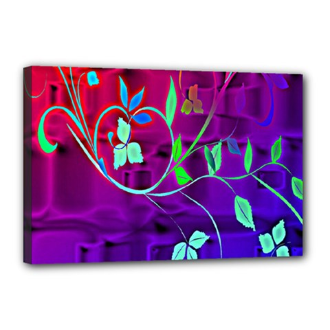Floral Colorful Canvas 18  X 12  (framed)