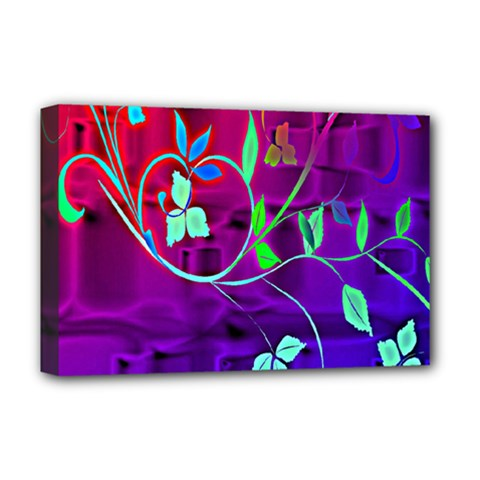 Floral Colorful Deluxe Canvas 18  x 12  (Framed)