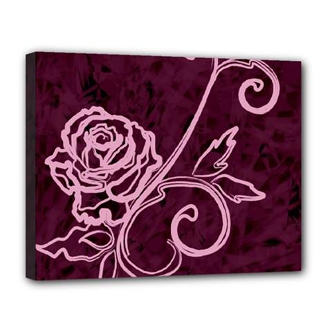 Rose Canvas 14  x 11  (Framed)