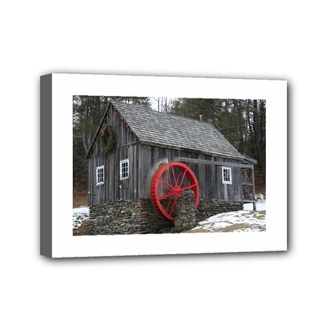 Vermont Christmas Barn Mini Canvas 7  x 5  (Framed)