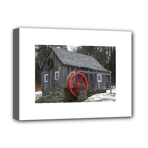 Vermont Christmas Barn Deluxe Canvas 16  X 12  (framed)
