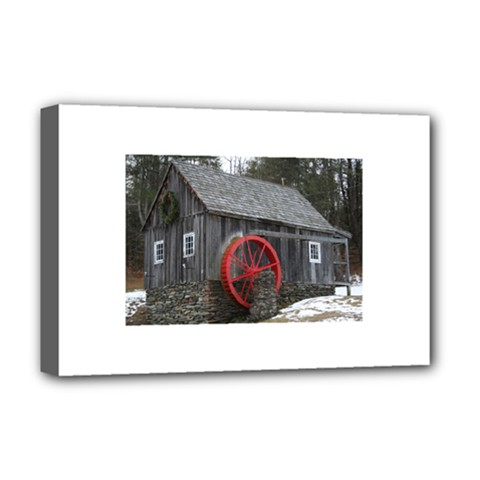 Vermont Christmas Barn Deluxe Canvas 18  x 12  (Framed)