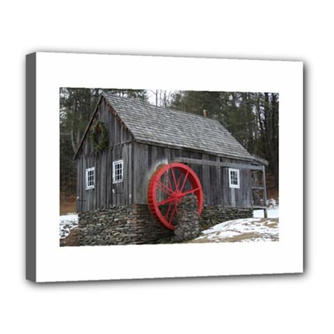 Vermont Christmas Barn Canvas 14  x 11  (Framed)